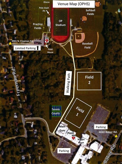 Orchard Park HS map of school, fields, stadium, tennis courts, and parking lots.  There are AEDs located at the Field House and in the High School Pool area.  There is limited parking available at the 3901 N. Freeman Road Parking lot.  There is also parking available at both the Freeman Road entrance and the Baker Road entrance to the high school.  A walking path connects the school to the Athletic Fields and the Orchard Park Stadium.