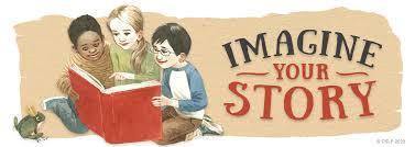 Imagine your story. Three children look at a large book