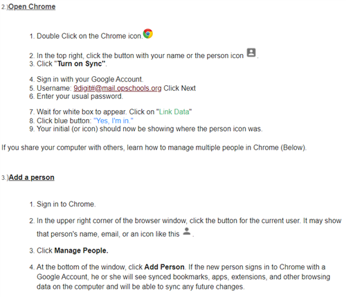 Chrome Instructions