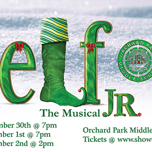 Poster for the Orchard Park Middle School's Production of Elf Jr. The Musical