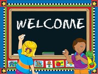The word Welcome on a chalkboard
